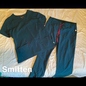 Smitten Brand Bahama Blue  4-Way Stretch Scrub Set